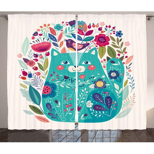 Zoomie Kids Leticia Cute Kitty Graphic Print & Text Semi-...