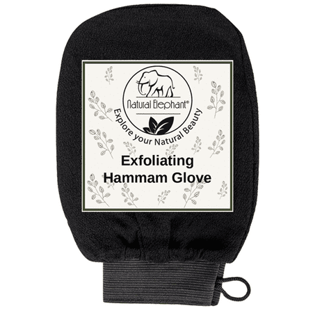 Natural Exfoliator - Exfoliating Hammam Glove - Face and Body Exfoliator Mitt Pure Black by Natural Elephant