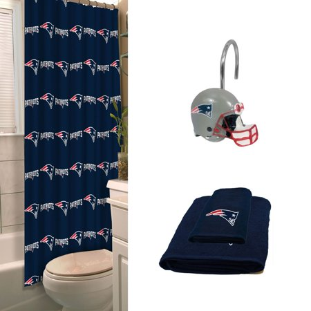New England Patriots Bath Set With Hand Towel Shower Curtain Hooks