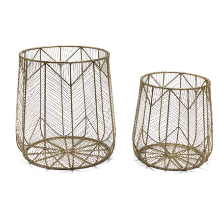 Handmade Chevron Wire 2 Piece Basket Set, Brass by Drew Barrymore Flower Home - Hand Painted Porcelain Basket