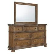 Drawer Dresser with Mirror in Medium Wood Finish