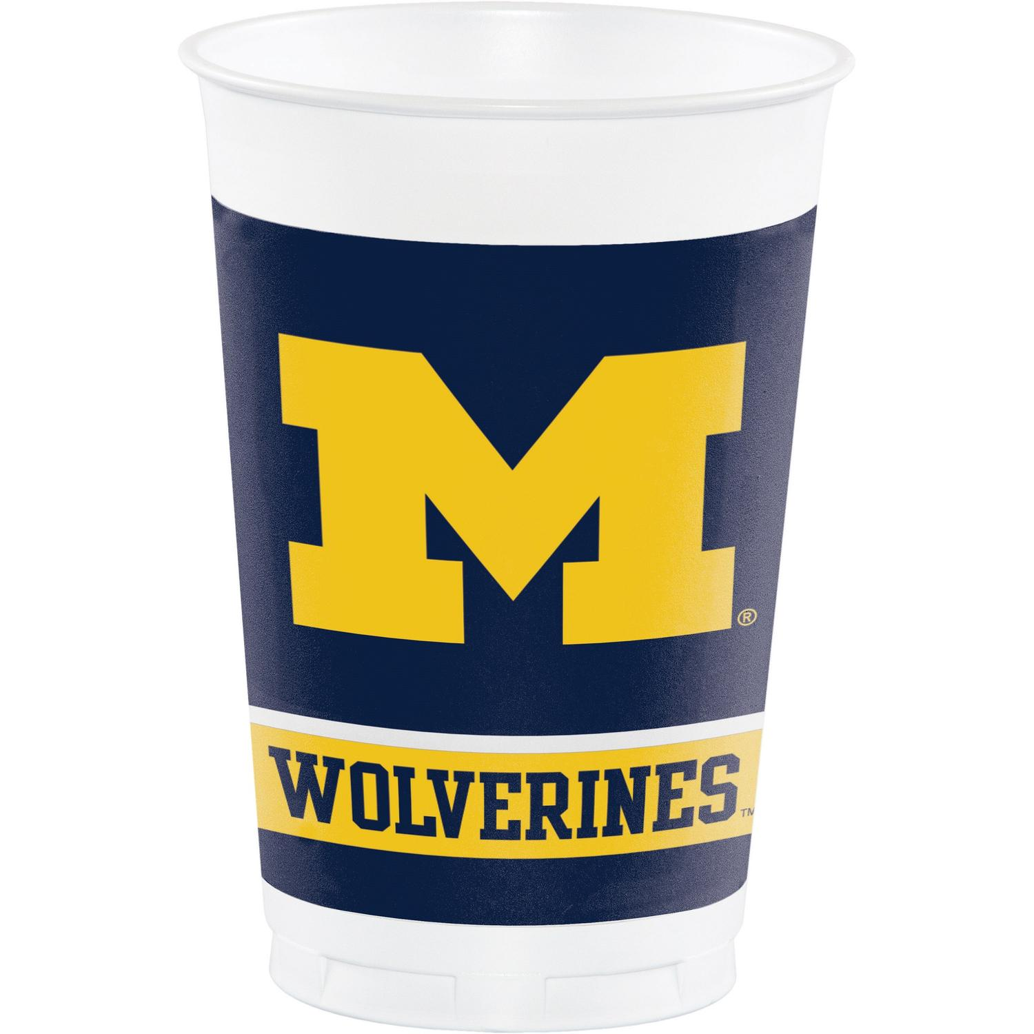 Club Pack of 12 Yellow Michigan Wolverines Plastic Drinking Tailgate Party Cups - 20 Ounces