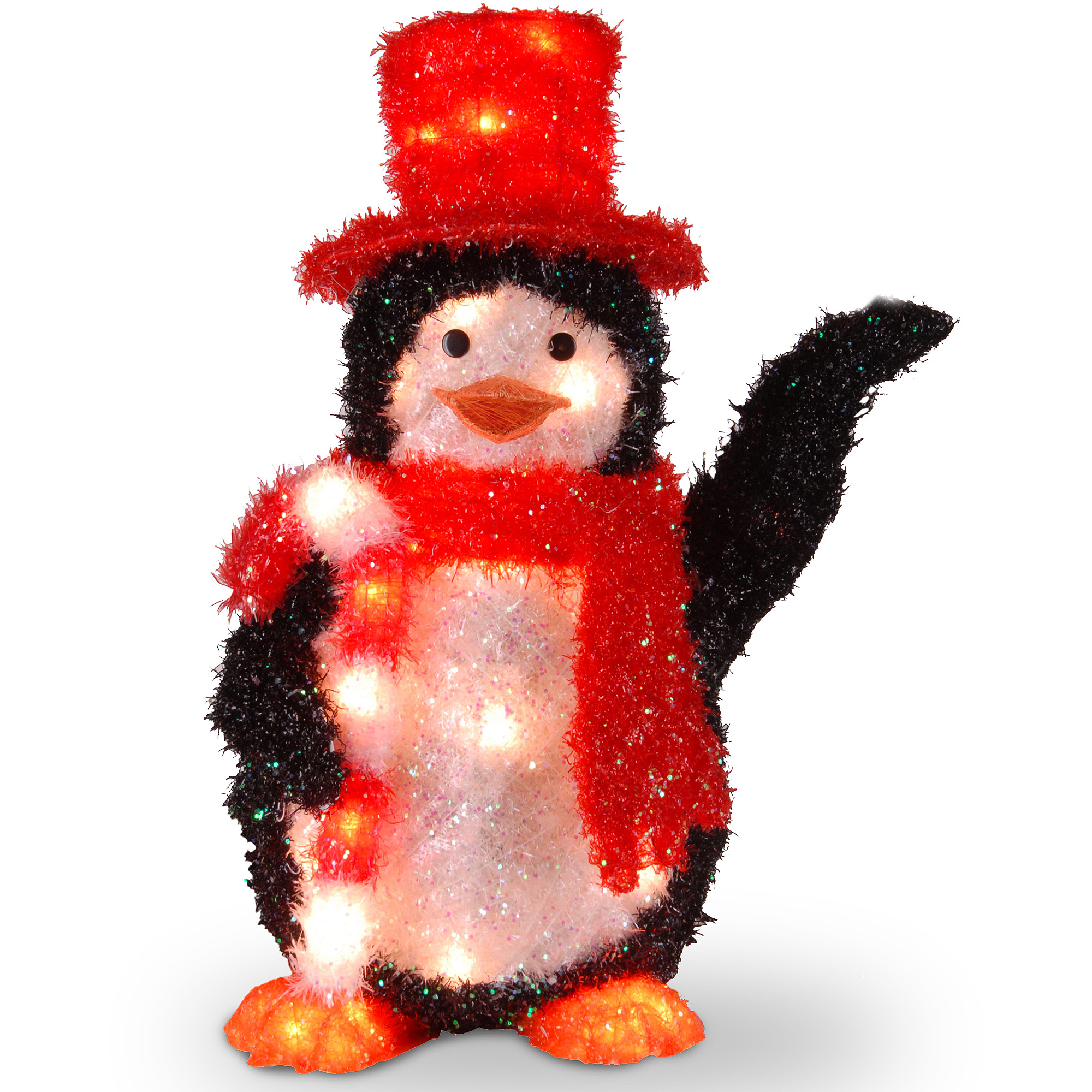 """National Tree 22"""" Tinsel Penguin with Candy Cane with 35 Clear Indoor/Outdoor Lights"""