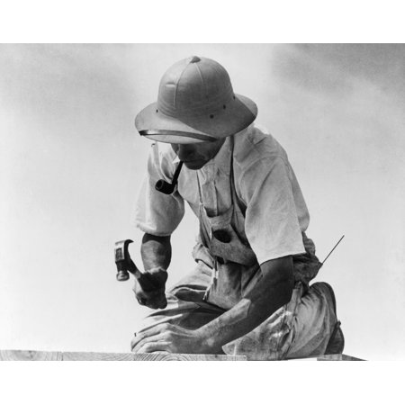 Maryland Carpenter 1936 Na Carpenter At Work In Greenbelt Maryland Photograph By Carl Mydans August 1936 Rolled Canvas Art     18 X 24