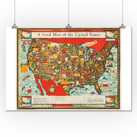 A Food Map Of The United States Vintage Poster USA C X - Us map poster walmart