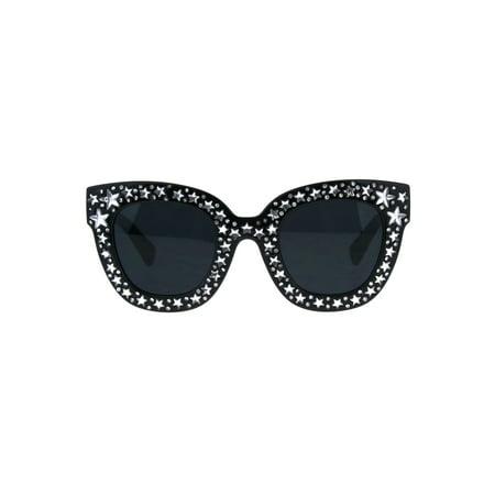 Star Engrave Bling Thick Horn Rim Womens Diva Sunglasses Black Dark Black](Star Shaped Sunglasses)
