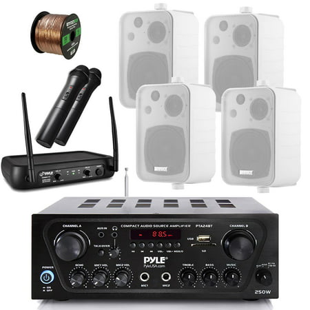 - Pyle Wireless Bluetooth Stereo Receiver Amplifier, Dual Channel VHF Wireless Microphone System, 4X Enrock EKMR408W 4