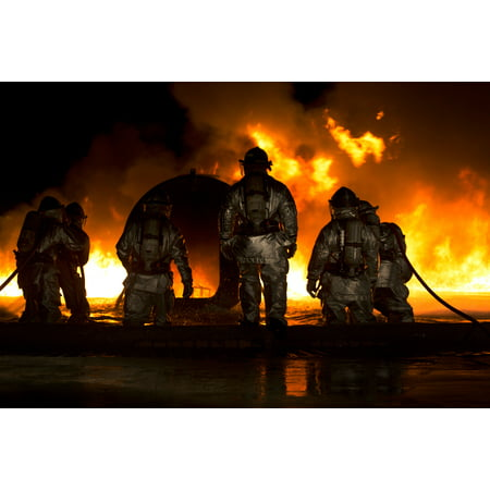 Laminated Poster Marines Use Water To Extinguish A Fuel Fire At Marine Corps Air Station Futenma During Live Burn Tra Poster Print 24 X 36