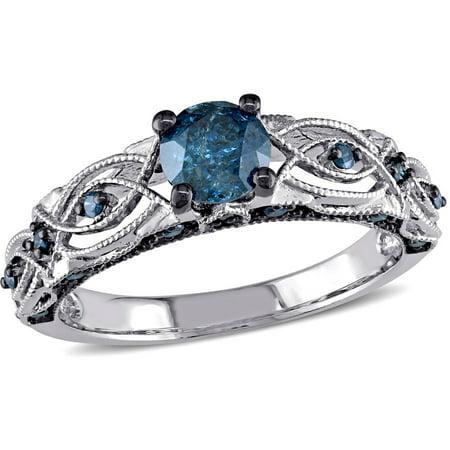 Tangelo 4/5 Carat T.W. Blue Diamond 10kt White Gold Vintage Filigree Engagement Ring