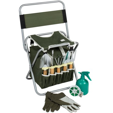 Best Choice Products 10-Piece Outdoor Gardening Tool Set w/ Detachable Tote Bag and Folding Stool Chair - Green ()