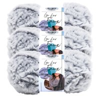 Lion Brand Yarn Go For Faux Chinchilla Faux Fur Super Bulky Polyester Gray Yarn 3 Pack