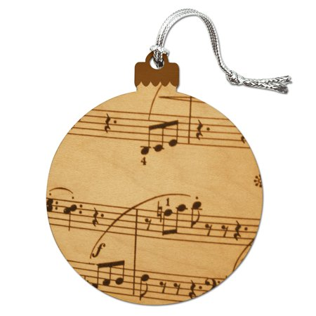 Vintage Sheet Music Notes Musical Score Musician Wood Christmas Tree Holiday Ornament (Musical Note Cutouts)