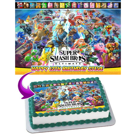 Super Smash Bros. Ultimate 2018 Edible Cake Image Topper Personalized Picture 1/4 Sheet (8