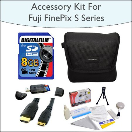 8GB Kit with 8GB SDHC High Speed Memory Card with Reader, Case for Fuji FinePix S Series, Mini HDMI Cable and 5 Piece Cleaning Kit for Fuji FinePix s2800 s2950 s3200 s4000 and HS20EXR Digital Cameras