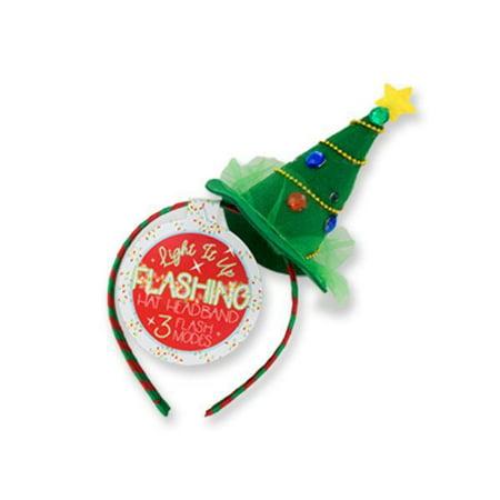 Flashing Christmas Hats (Light It Up Flashing Christmas Tree Hat Headbands - CASE OF)