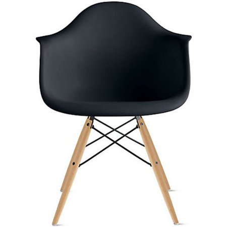 2xhome Black Mid Century Modern Plastic Dining Chair Molded With Arms Armchairs Natural Wood Legs Desk No Wheels Accent Chair Vintage Designer for Small Space Table Furniture Living Room Desk DSW