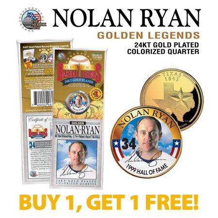 NOLAN RYAN Golden Legends 24K Gold Plated TEXAS State Quarter US Coin - BOGO State Quarters Us Coins