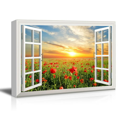 (wall26 Window View Canvas Wall Art - Red Poppy Flower Field at Sunset - Giclee Print Gallery Wrap Modern Home Decor Ready to Hang - 24x36 inches)