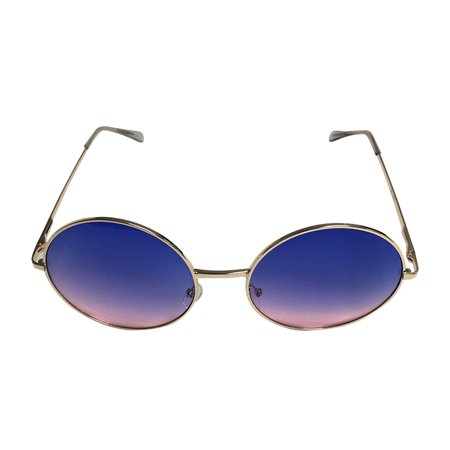 Blue/Pink Fade Janis Joplin Round Sunglasses  Hippie 60s 70s Glasses Costume (60s 70s Dress Up)