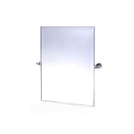 Rectangular Decorative Beveled Wall Mirror with Adjustable Tilt (Polished Chrome)