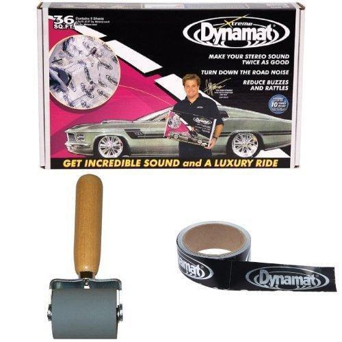 "Dynamat 10455 18"" x 32"" x 0.067"" Thick Self-Adhesive Sound Deadener Dynamat 10007 Dyna-Roller Professional Heavy Duty 2"" Wide Rubber Roller 13100 Dynatape 1-1/2in x 30f"