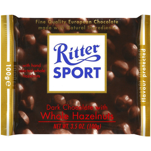 Ritter Sport Chocolate Bar, Dark Chocolate, Whole Hazelnuts, 3.5 Oz