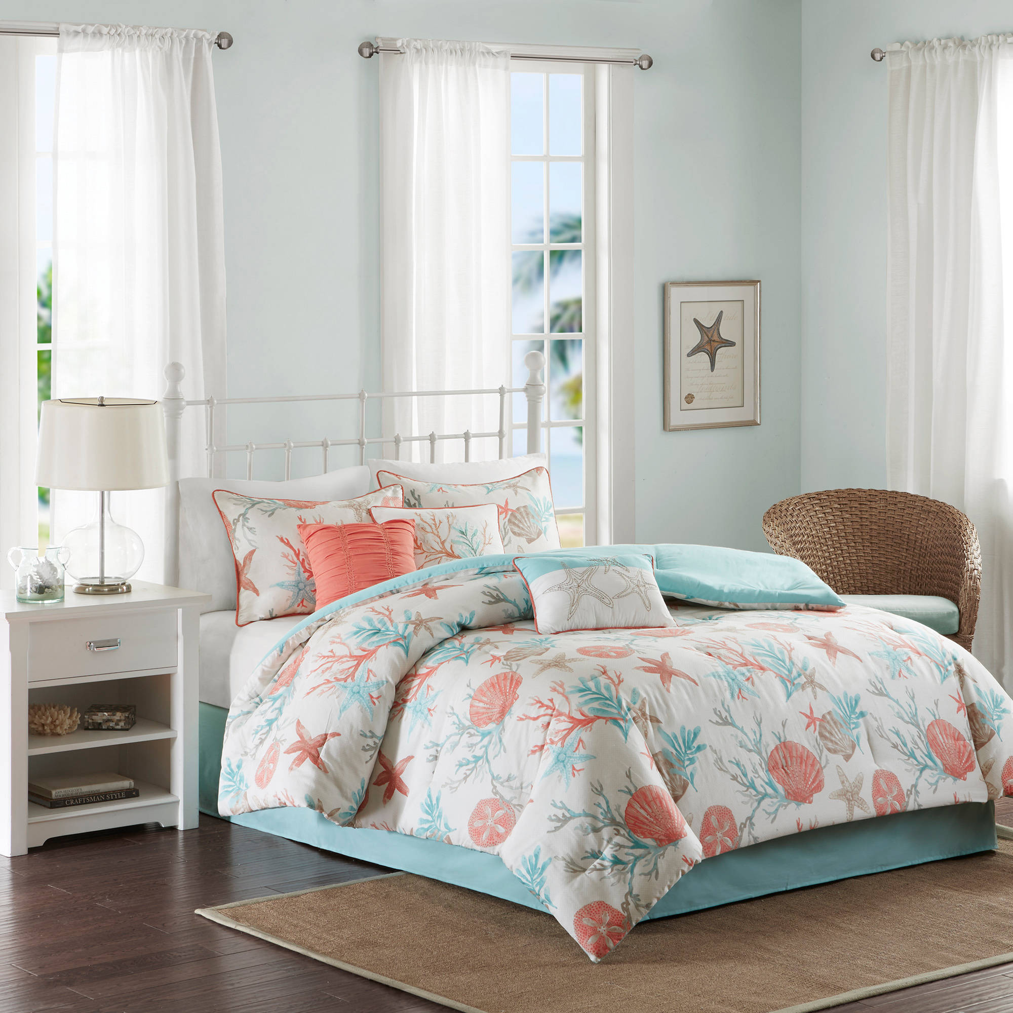 Home Essence Ocean View 7PC Cotton Sateen Printed Comforter Bedding Set