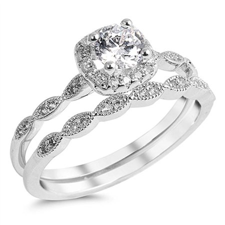 Round Solitaire White CZ Wedding Ring ( Sizes 5 6 7 8 9 10 ) Set .925 Sterling Silver Band Rings (Size