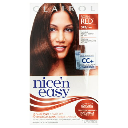 Clairol Nice 'n Easy Born Red Permanent Hair Color, 5RB/119B Natural Medium Reddish Brown, 1 Kit