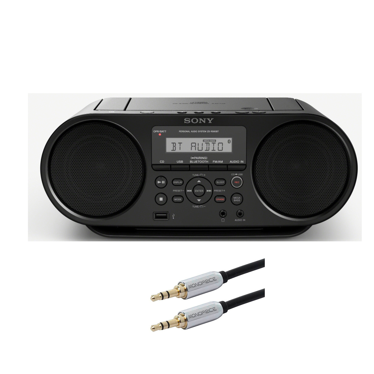 Sony CD Boombox with Bluetooth and NFC (Black) and Monoprice Cable Bundle