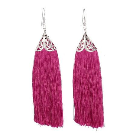 - Pair Magenta Tassel Fringed Fish Hook Dangling Ear Decoration Earrings for Women