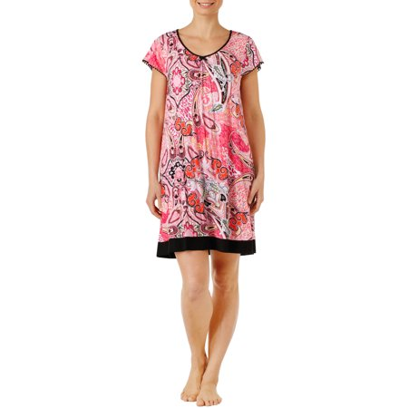 Secret Treasures Women's and Women's Plus Flutter Short Sleeve Printed Rayon Spandex Chemise Sleepwear Gown