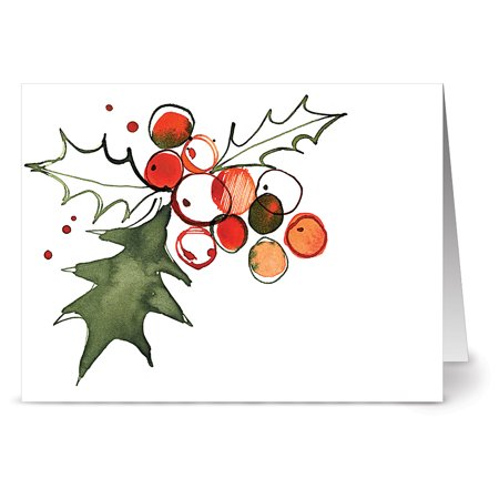 24 Holiday Note Cards - Holly Leaves - Blank Cards - Red Envelopes Included