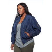9d58becbc Womens Plus Casual Streetwear Trendy Solid Zipper Bomber Jacket J7004