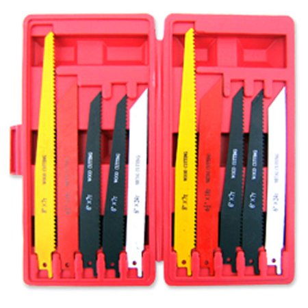 Embedded Wood Cutting Reciprocating Blades (10 Pc Reciprocating Saw Blade Set W/ Case Metal & Wood)