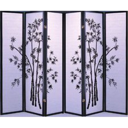 Legacy Decor Black 6 Panel Japanese Oriental Style Bamboo Design Wood Shoji Screen Room (Oriental Wood Screen)