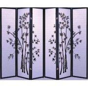 Legacy Decor Black 6 Panel Japanese Oriental Style Bamboo Design Wood Shoji Screen Room Divider