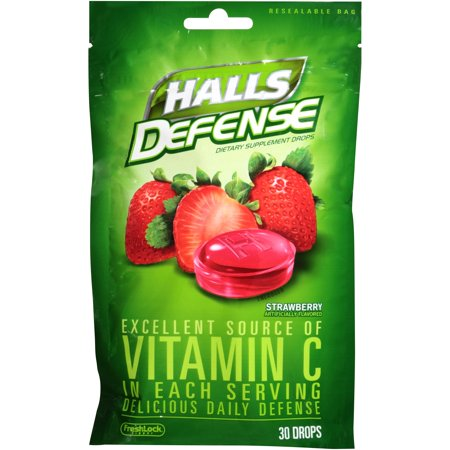 Halls Defense Vitamin C Supplement Drops, Strawberry, 30 Ct