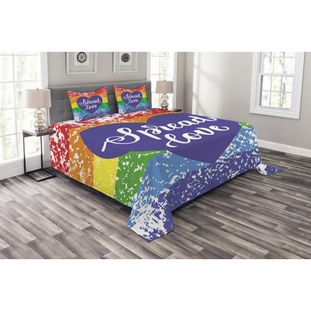 Pride Bedspread Set, Spread Love Inspirational Hand Writing Heart Gay LGBT Parade Slogan Grungy Vibrant, Decorative Quilted Coverlet Set with Pillow Shams Included, Multicolor, by - Quilted Heart