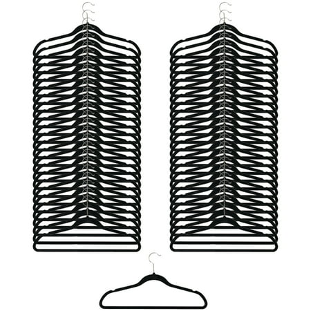 50 Pack Clothes Hangers Black Velvet Hangers Clothes Hanger Ultra Slimline No (Brick Hanger)