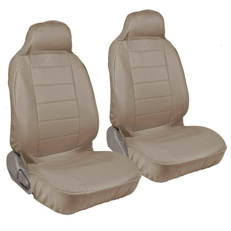 RealFeel Faux Leather Car Seat Covers, Front Pair, High Beige Leatherette