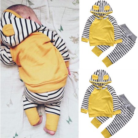 Newborn Toddler Kids Baby Boys Girls Outfits Clothes T-shirt Tops+Pants 2PCS