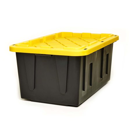 Homz Durabilt 27 Gallon Tough Container, Black and Yellow, Set of 2