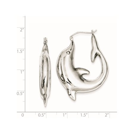 925 Sterling Silver Rhodium-plated Dolphin Hoop (31x41mm) Earrings - image 1 de 2