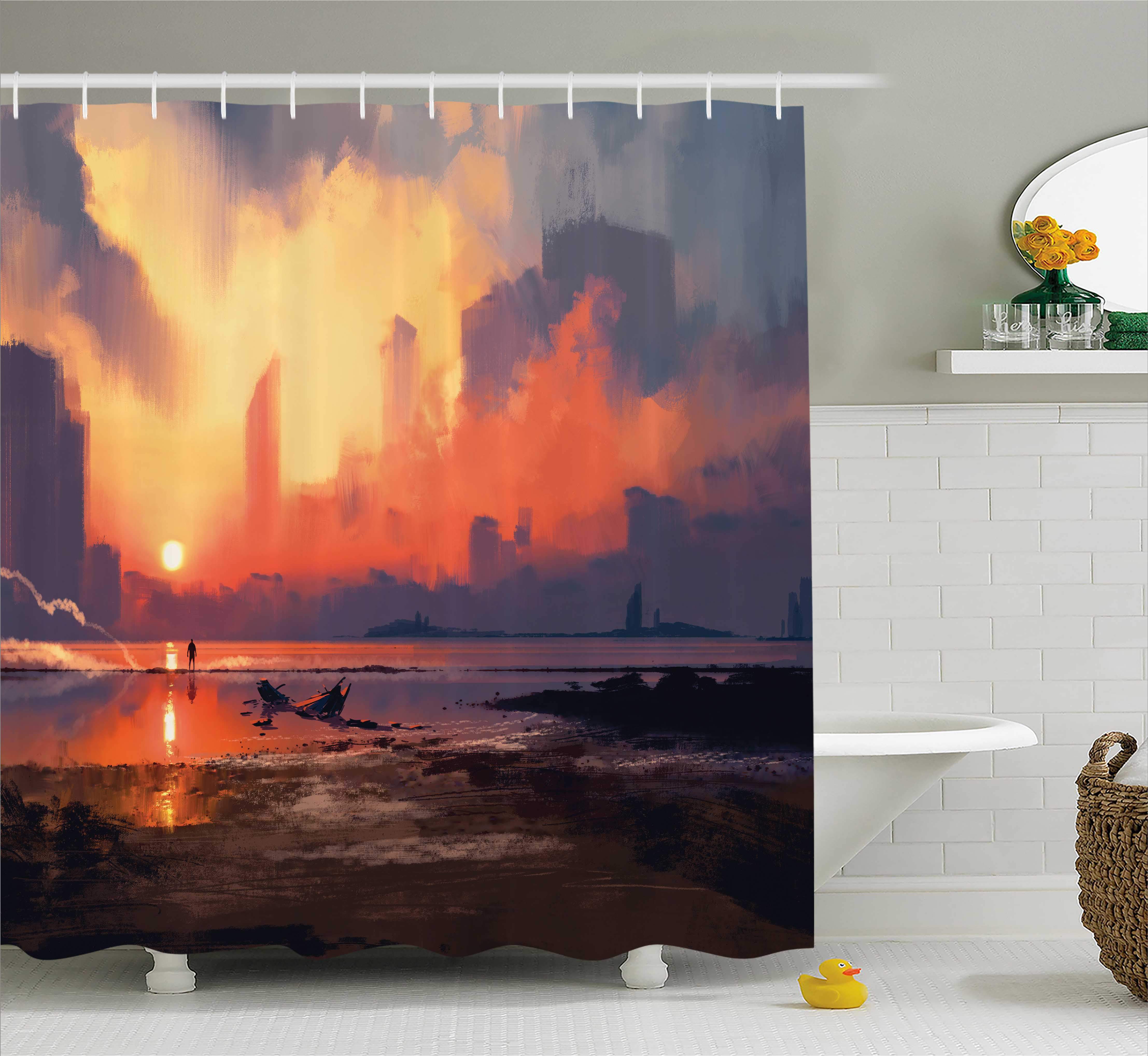 Fantasy World Decor Shower Curtain, Man on Sandy Beach with City Skyscrapers Skyline Sunset Oil Graphic, Fabric Bathroom Set with Hooks, 69W X 84L Inches Extra Long, Orange Blue, by Ambesonne
