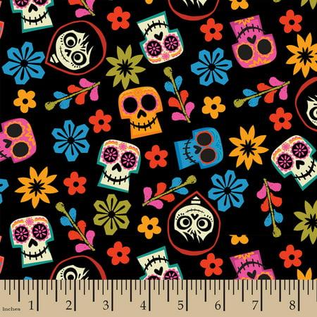 Disney Pixar Coco Skull Toss Cotton Fabric by the - Disney Cars Fabrics