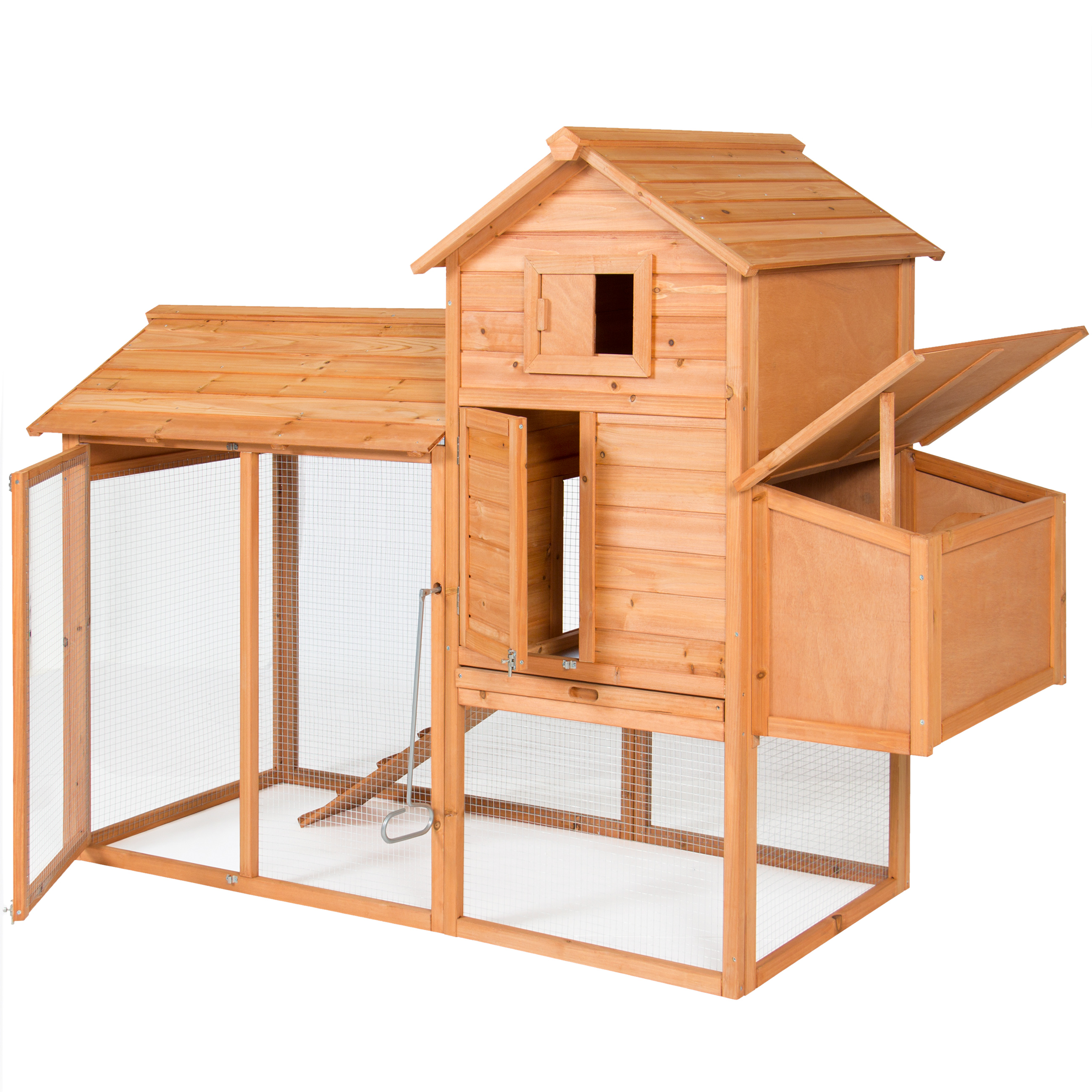"""BCP 80"""" Wooden Chicken Coop Backyard Nest Box Wood Hen House Poultry Cage Hutch"""