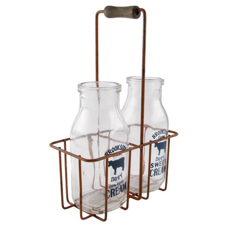 - Glass Cream Bottle Set/2 Bottles Wire Carrier Rustic Farm Kitchen/Home/Cow Decor