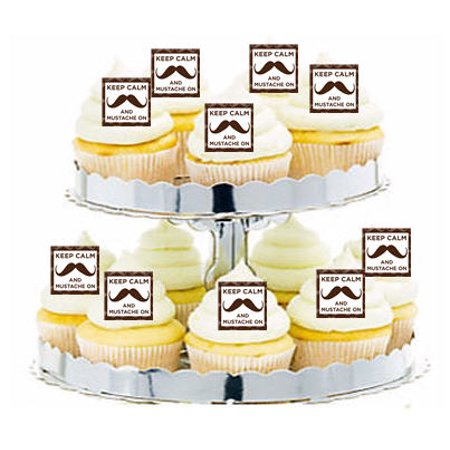 24pk Mustache Keep Calm Cupcake  Decoration Toppers / Picks