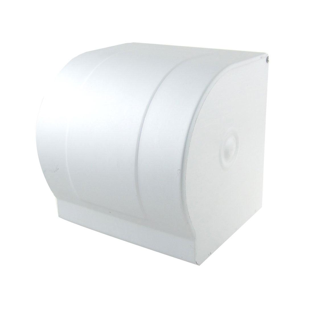 Unique Bargains Unique Bargains Sliver Tone Squared Shape Wave Edge Washroom Toilet Paper Holder Box by Unique-Bargains
